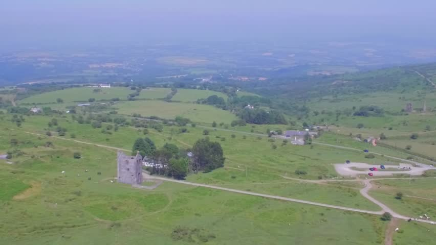 Foggy day in Bodmin Moore. Aerial shot