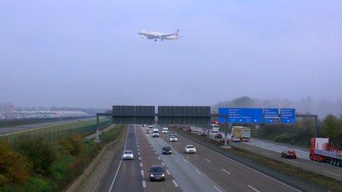 Motorway A5 near Frankfurter Kreuz, Frankfurt Airport, Frankfurt am Main, Hesse, Germany, Europe
