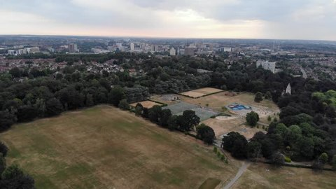 Drone Aerial View Memorial Park Play Area And City Of Coventry, England