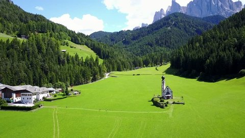 Flight through Val di Funes, Bolzano Province, Trentino-Alto Adige/South Tyrol, Italian Dolomites, South Tyrol, Italy, Europe