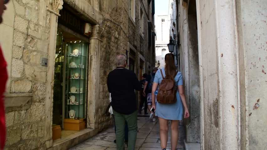 People in narrow streets of Split Croatia October 20, 2017 | Shutterstock HD Video #1014146825