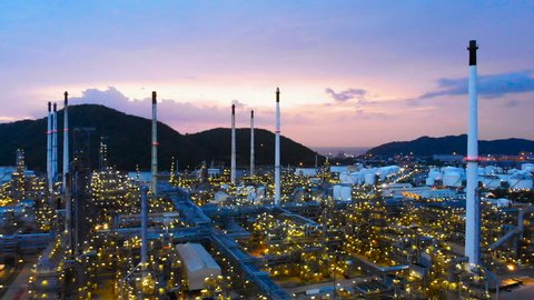 Aerial view footage of Oil refinery, Oil Industry at sunset.