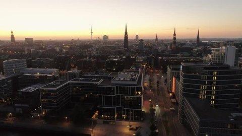 Aerial view of Speicherstadt Hamburg, Germany. Sunset / dusk / night. City lit up at night, Hamburg, Germany Night city landscape. Amazing architecture.