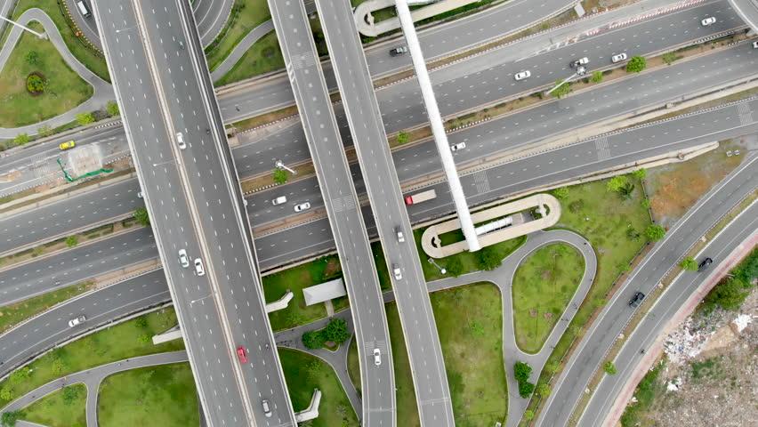 Aerial view of highway interchange | Shutterstock HD Video #1014182735