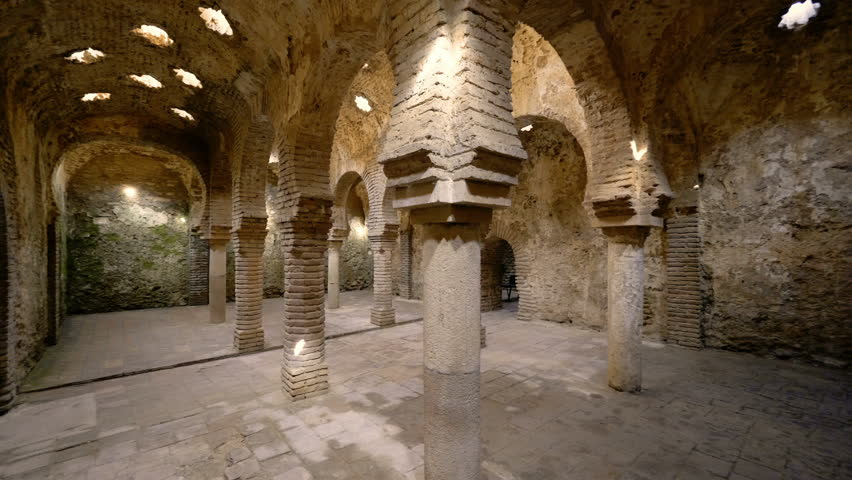 Panorama of the interior of the arabic baths in Ronda, Spain.