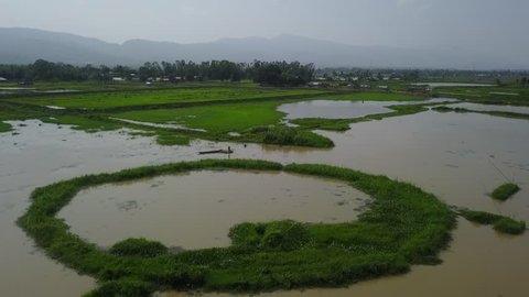 Ariel view of Loktak lake & Keibul lamjao area Manipur, India