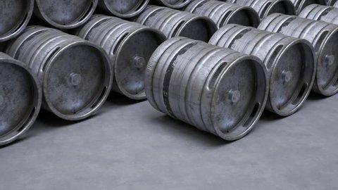 03622 Beer keg being rolled. Camera moves left in endless loop.