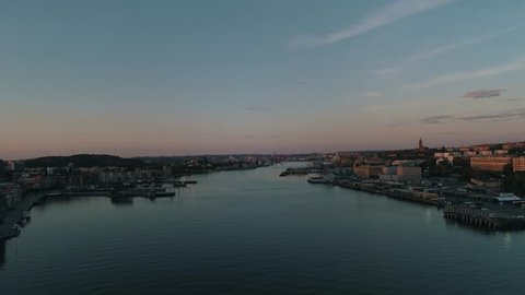 Gothenburg City River Sunset - 4k Drone footage
