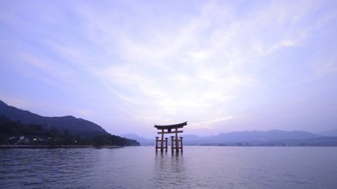 Hiroshima, Japan - July 25, 2018 - Miyajima is a small island off Hiroshima in Japan. It is most famous for its giant torii gate, which at high tide seems to float on the water.