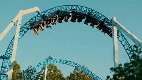 Roller coaster in an amusement park