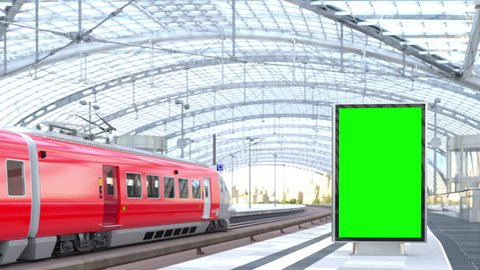 Blank Billboard at Railway Station 3D rendering