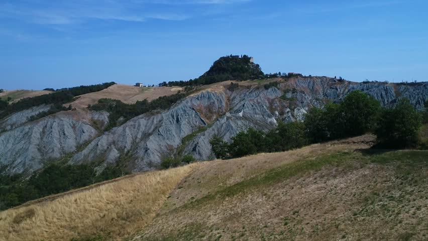 Canossa, Emilia Romagna / Italy - 07/27/2018 : Aerial video of Canossa Castle of Matilde of Canossa Queen   Shutterstock HD Video #1014289085