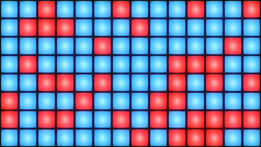 Red and Blue Disco nightclub dance floor LED dancing wall glowing light grid dancefloor musical background vj seamless loop club animation | Shutterstock HD Video #1014299585