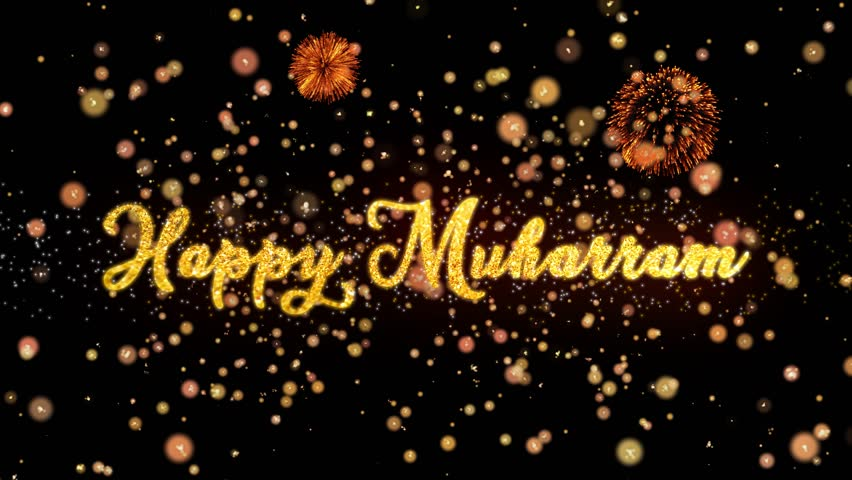 Happy Muharram Abstract particles and fireworks greeting card text with shiny black background for festivals,events,holidays,party,celebration.