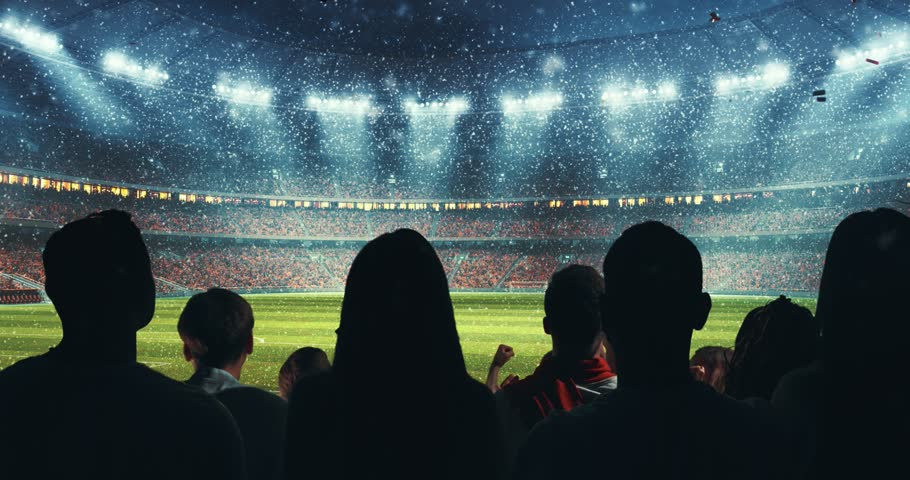 Fans celebrating the success of their favorite sports team, a man is standing with raised hands on the stands of the professional stadium while it's snowing. Stadium is made in 3D and animated. #1014312485