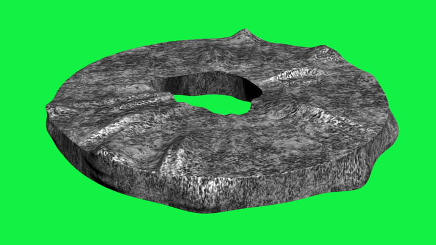 3d animation of stone wheel isolated on green screen