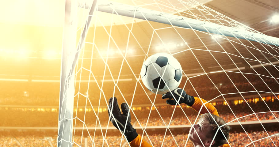 Goalkeeper fails to save from a goal on a professional soccer stadium while the sun shines. Stadium and crowd are made in 3D and animated. #1014313355