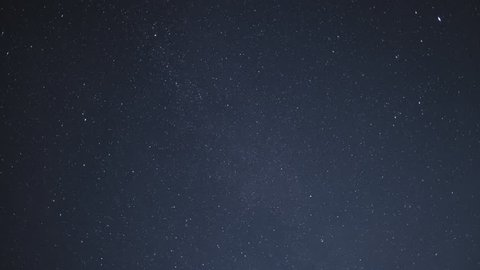 Timelapse of beautiful night sky with stars moving slowly, background in 4K UHD