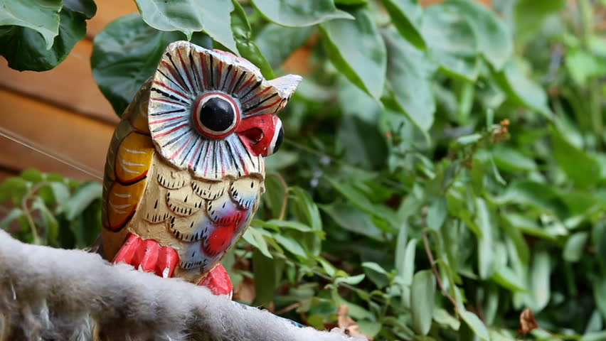 Handmade Carved Colorful Owl Statue with Big Eyes