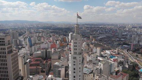 Sao Paulo, Sao Paulo /Brazil - 05/16/2018 - Aerial cityscape, Altino Arantes ¨Banespao¨ Banespa