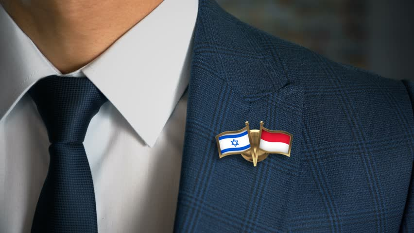 Businessman Walking Towards Camera With Friend Country Flags Pin Israel - Monaco