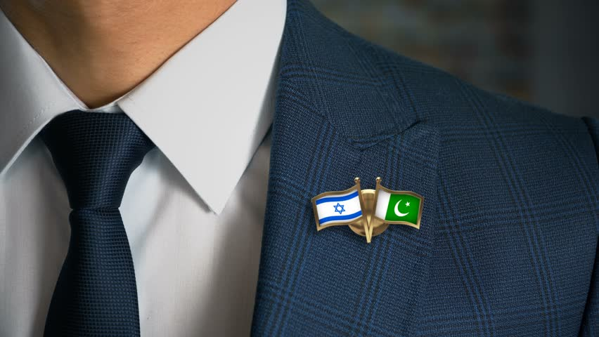 Businessman Walking Towards Camera With Friend Country Flags Pin Israel - Pakistan   Shutterstock HD Video #1014412025