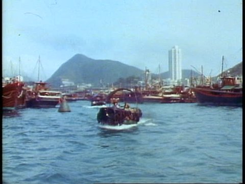 HONG KONG, CHINA, 1982, Aberdeen, the floating city, boat people, POV