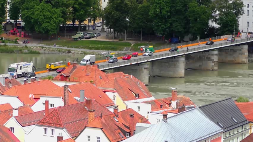 """4K footage of Passau, Germany, from the South. Passau is also known as the """"City of Three Rivers,"""" because the Danube is joined here by the Inn and the Ilz"""