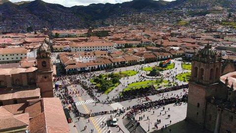 Aerial  Shot Main Square Cusco Plaza de Armas