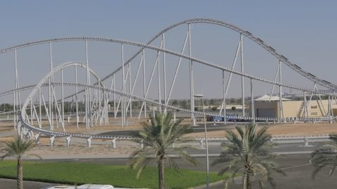 Exterior of Ferrari World Abu Dhabi, Yas Island, Abu Dhabi, United Arab Emirates, Middle East, Asia