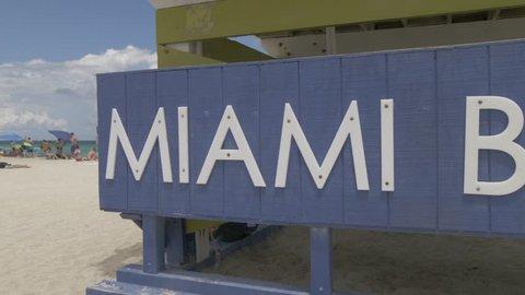 Colourful lifeguard watchtower, Miami Beach, South Beach, Miami, Florida, United States of America, North America