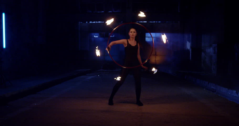 Female Dancer Performing Fire Show In Darkness Confidence Extreme Low Light Slow Motion 8k Red Epic