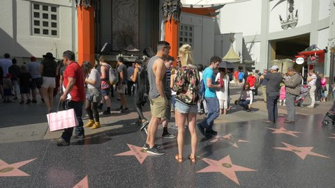 Los Angeles, United States - June, 2017: Tourists near the Chinese Theatre in Hollywood