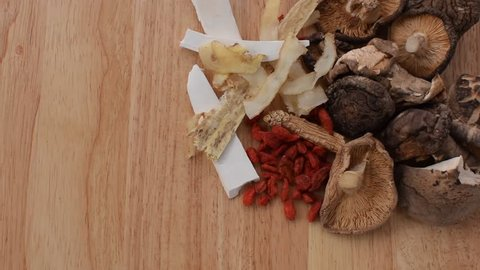 spices herb for boiled Chinese soup and  made good healthy on wood.