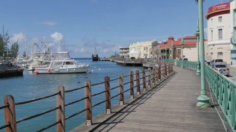 Constitution River and Quayside Shops, Bridgetown, St Michael, Barbados, West Indies, Caribbean