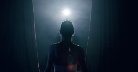 Young Prima Ballerina Entering Stage as Curtain Opens In Front Of Audience Dark Stage Sacrifice Flexibility Smoke Silhouette Slow Motion Red Epic