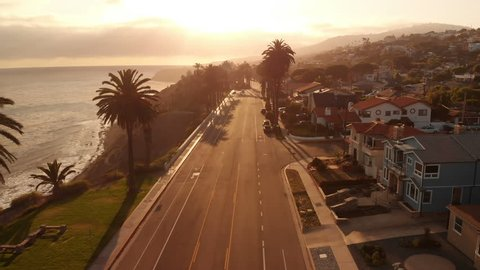Aerial Shot of Sunset Coastline and Road in San Pedro California USA