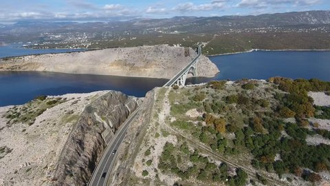 Drone footage of island Krk and bridge that connects the island and the Croatian coastline.