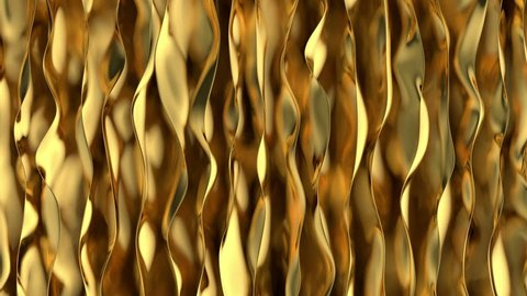 Golden wave background. Gold background. Organic Gold texture. Seamless looping animation