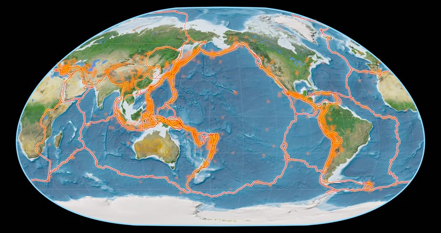 Tectonic activity within the Pacific Ring of Fire on the global map in the Loximuthal projection. Satellite imagery