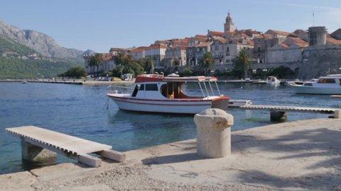 View of Luka Korculanska Bay and Korcula Old Town, Korcula, Dalmatia, Croatia, Europe