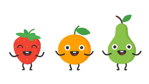 Set dancing fruits strawberry orange pear. Loop animation. Alpha channel.