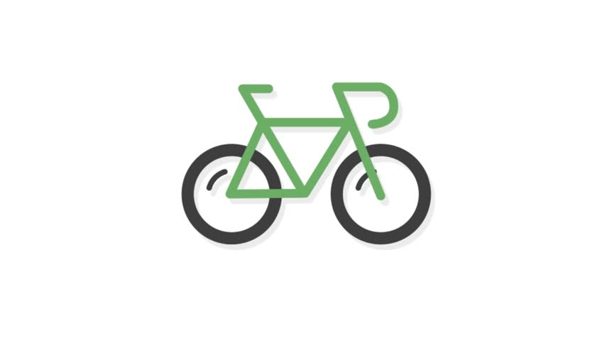 Sports icons animation with white  background.Bicycle sports icon animation with white background.