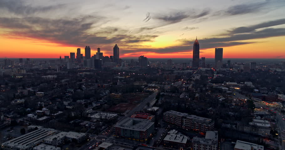 Atlanta Aerial v381 Flying backwards over Ponce City Market with cityscape, sunset view 1/18
