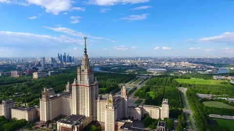 Drone shoot of the park to Moscow State University aerial top view