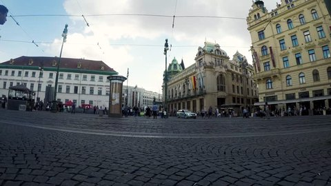 prague, Czech Republic - 28.04.2018 Timelapse of clouds and people in Prague main square with trams