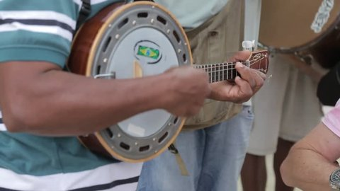 Musicians on Avenida Atlantica, Copacabana, Rio de Janeiro, Brazil, South America