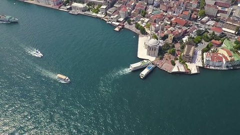 Istanbul Ortakoy drone footage on a summer day