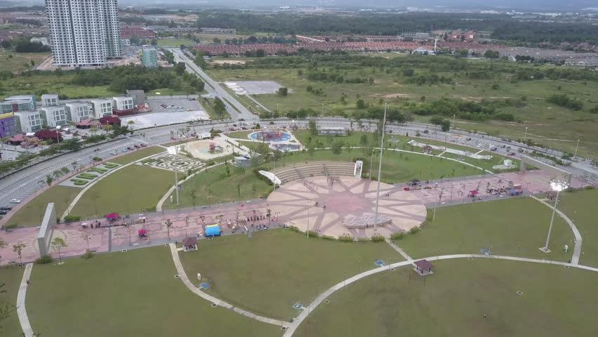 Aerial footage of a public recreational park known as Bulatan Amanjaya located in Ipoh, Perak.