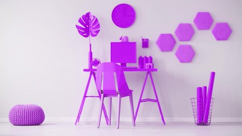Video of purple home office interior cinemagraph with a toy dice thrown across the room. Chair at a desk with desktop computer
